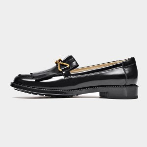 Beau Glossy Metal Bow Black Loafers (27088)