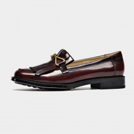 Beau Glossy Metal Bow Wine Loafers (27088)