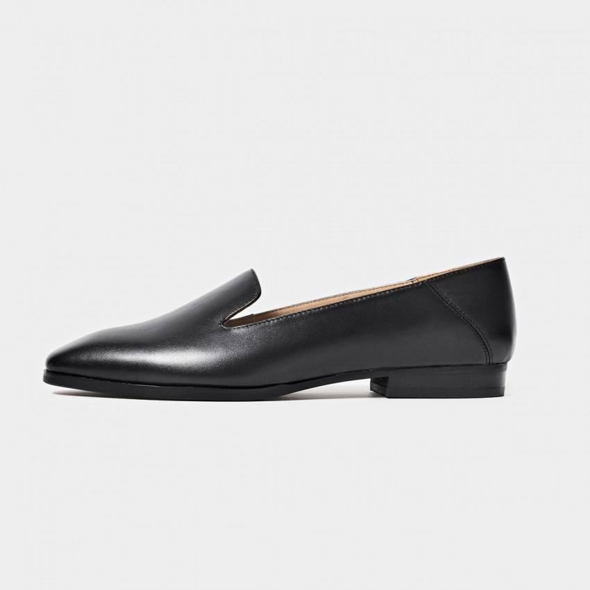 Beau Minimalist Leather Black Loafers (27089)