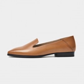 Beau Minimalist Leather Brown Loafers (27089)
