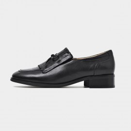 Beau Vintage Bow Low Heel Black Loafers (27091)