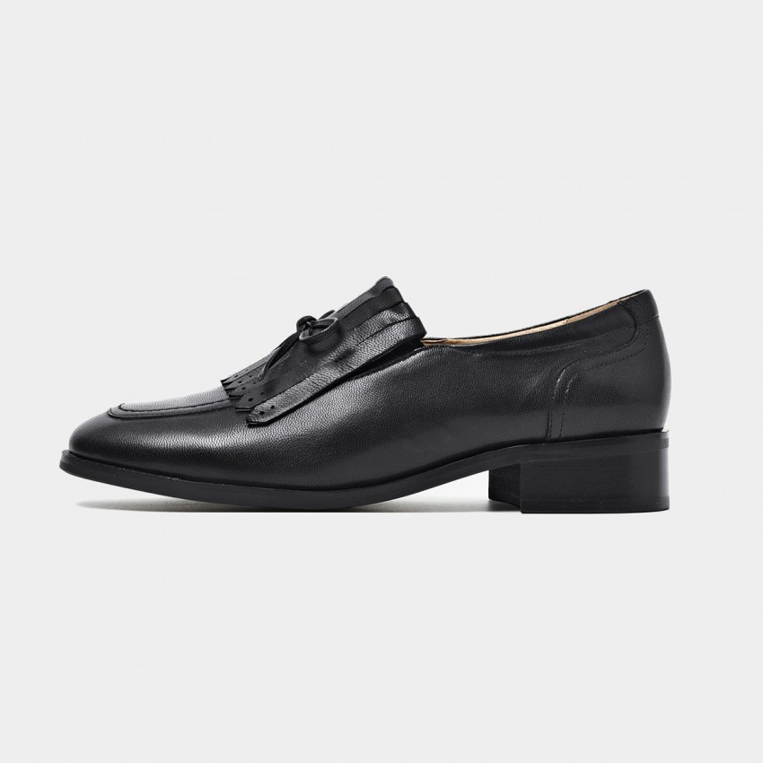 Buy Beau Vintage Bow Low Heel Black Loafers online, shop Beau with free shipping
