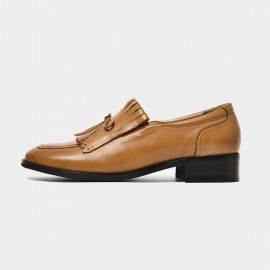 Beau Vintage Bow Low Heel Brown Loafers (27091)