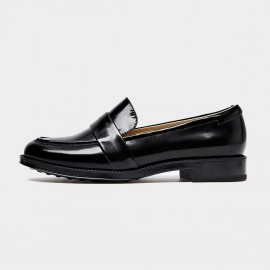 Beau Simple Glossy Leather Black Loafers (27097)