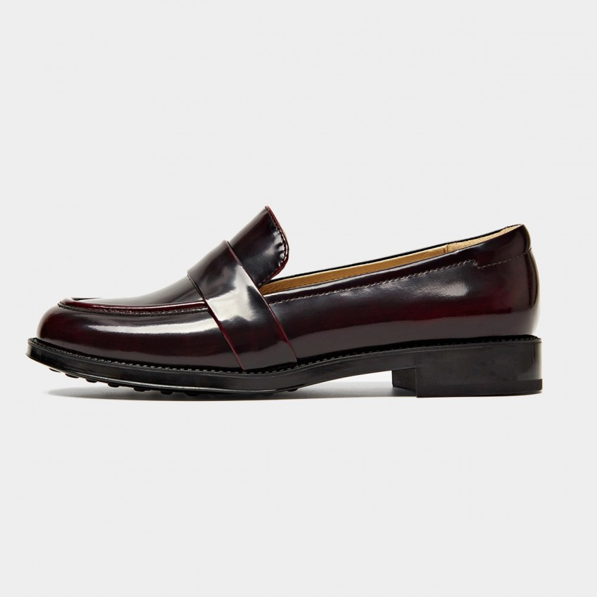Buy Beau Simple Glossy Leather Wine Loafers online, shop Beau with free shipping