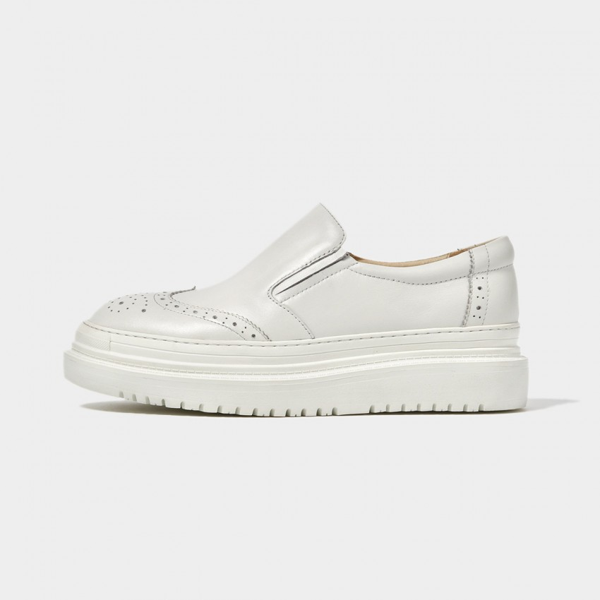 Buy Beau Brogued Platform White Loafers online, shop Beau with free shipping