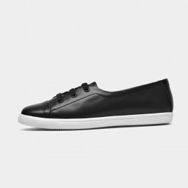 Beau Simple Laced Leather Black Sneakers (29032)
