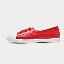 Beau Simple Laced Leather Red Sneakers (29032)