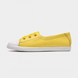 Beau Simple Laced Leather Yellow Sneakers (29032)