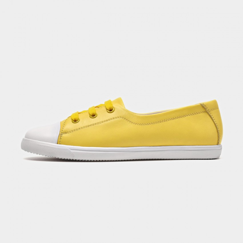 Buy Beau Simple Laced Leather Yellow Sneakers online, shop Beau with free shipping