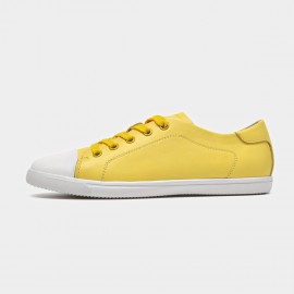 Beau Playful Laced Contrasting Toes Yellow Sneakers (29033)