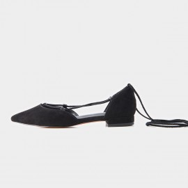 Beau Pointed Toe Ballerina Suede Black Lace Ups (30010)