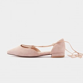 Beau Pointed Toe Ballerina Suede Pink Lace Ups (30010)