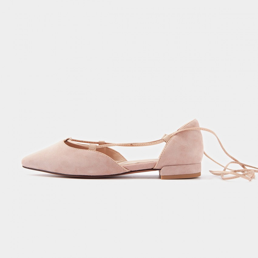 Buy Beau Pointed Toe Ballerina Suede Pink Lace Ups online, shop Beau with free shipping