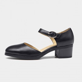 Beau Strap Rounded Toe Low Heel Black Pumps (30032)