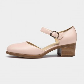 Beau Strap Rounded Toe Low Heel Pink Pumps (30032)
