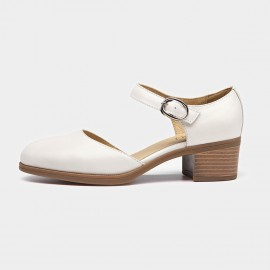 Beau Strap Rounded Toe Low Heel White Pumps (30032)