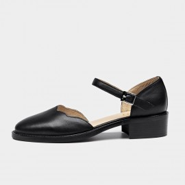 Beau Strap Rounded Toe Curve Low Heel Black Pumps (30034)