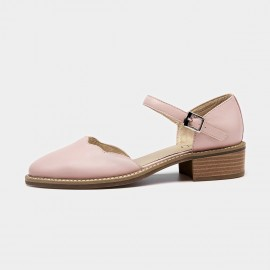 Beau Strap Rounded Toe Curve Low Heel Pink Pumps (30034)
