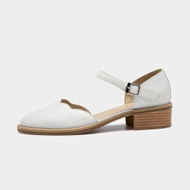 Beau Strap Rounded Toe Curve Low Heel White Pumps (30034)