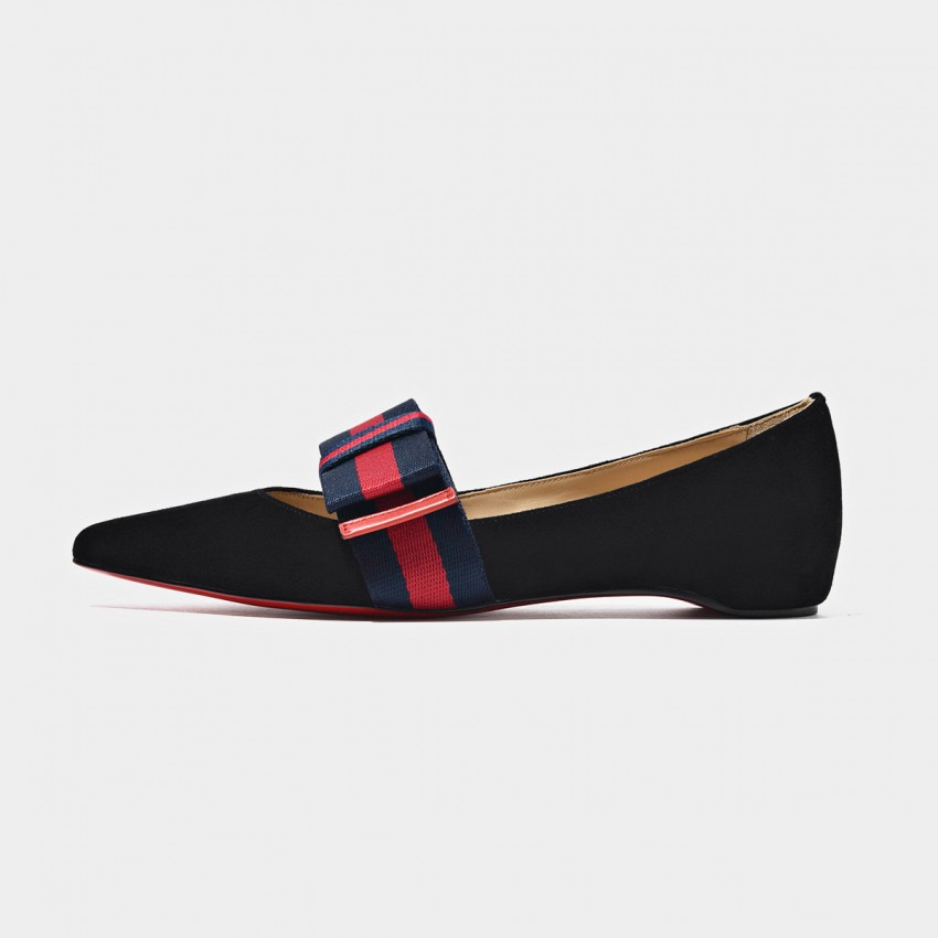 Buy Beau Pointed Toe Striped Bow Black Flats online, shop Beau with free shipping