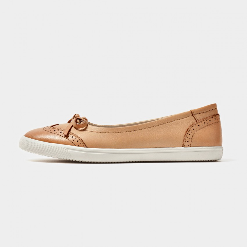 Buy Beau Comfortable Brogued Bow Apricot Flats online, shop Beau with free shipping