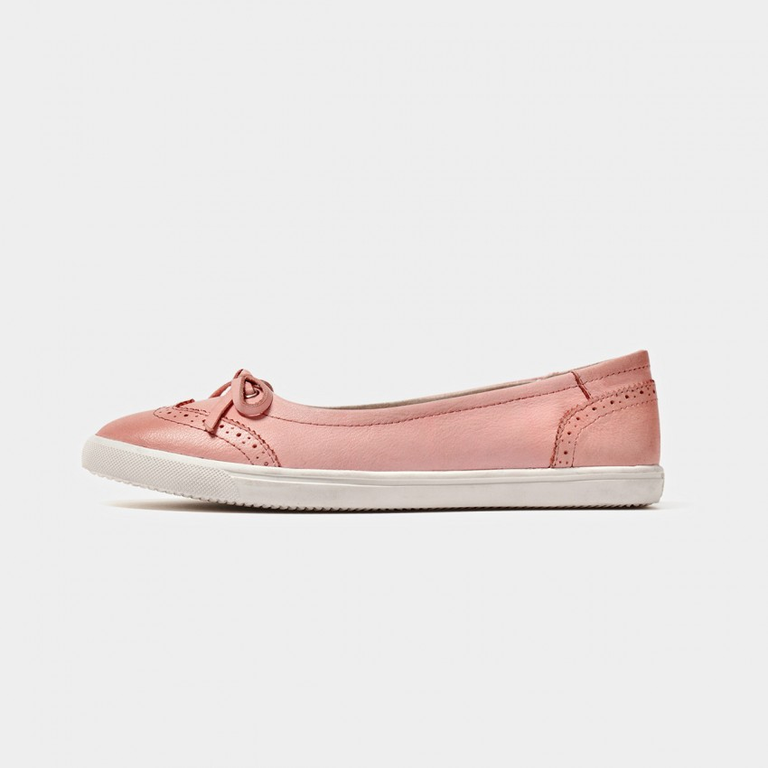Buy Beau Comfortable Brogued Bow Pink Flats online, shop Beau with free shipping
