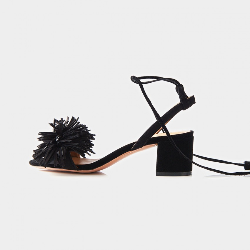Buy Beau Leather Tassel Cross Strap Suede Black Sandals online, shop Beau with free shipping