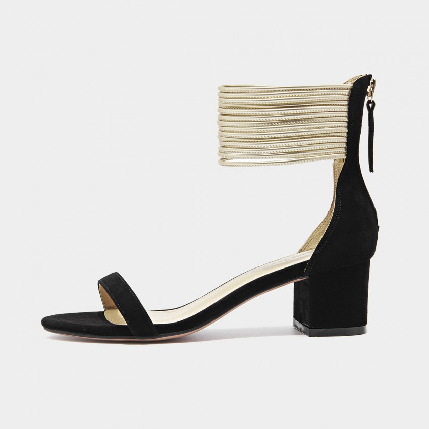 Buy Beau Gold Ankle Strap Chunky Heel Black Sandals online, shop Beau with free shipping