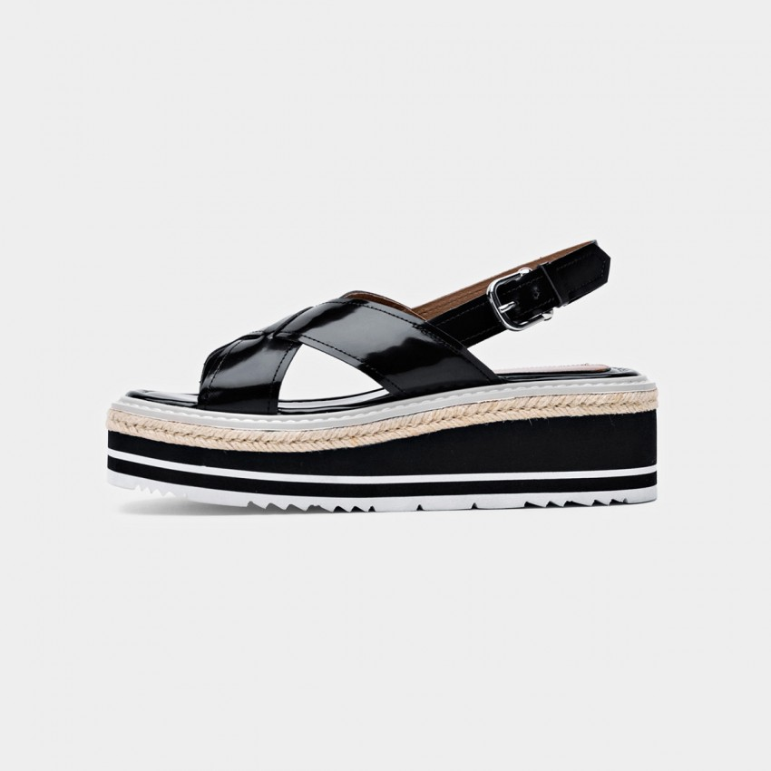 Buy Beau Glossy Cross Strap Platform Black Sandals online, shop Beau with free shipping