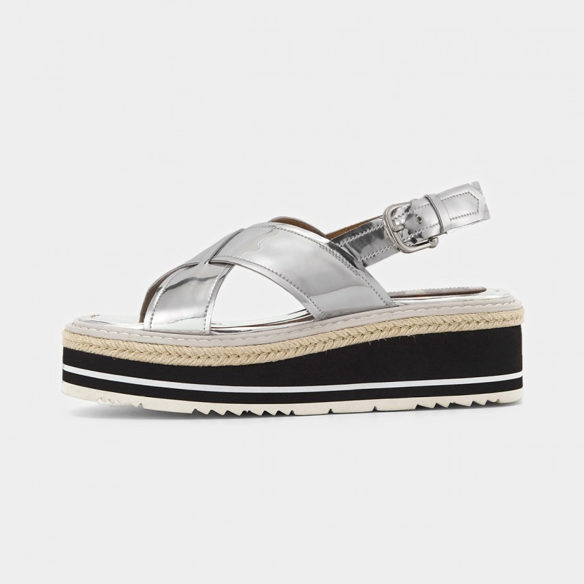 Buy Beau Glossy Cross Strap Platform Silver Sandals online, shop Beau with free shipping