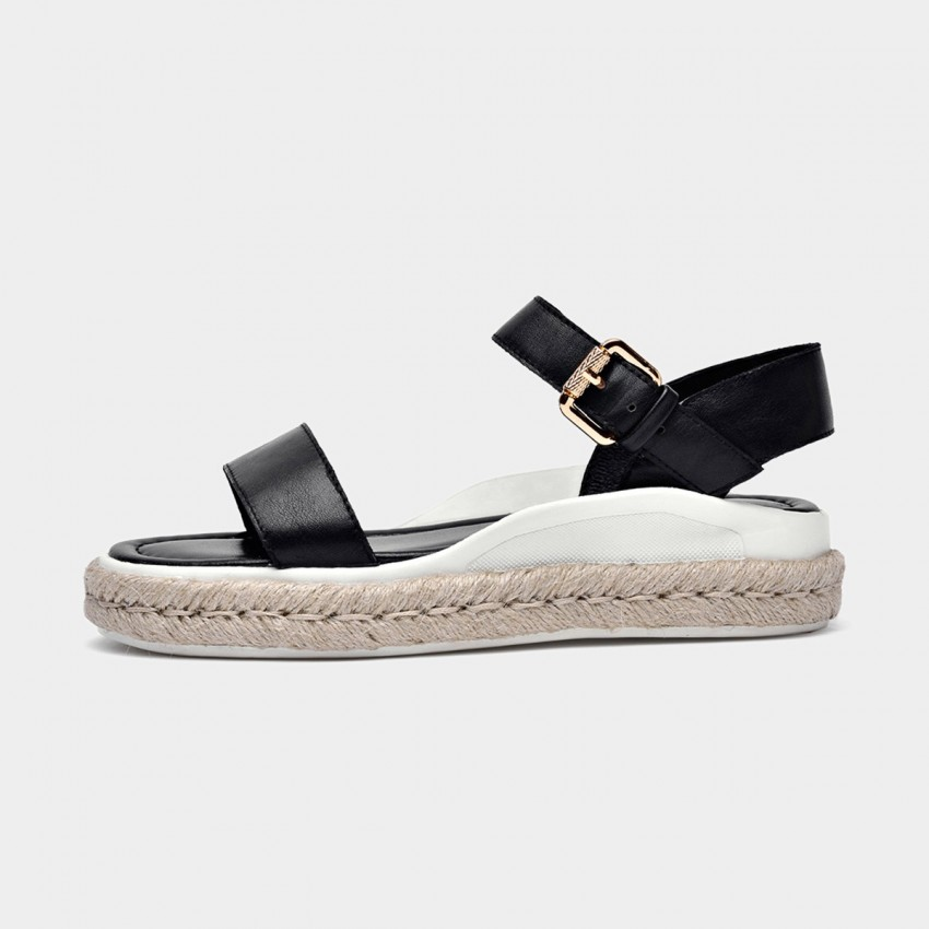 Buy Beau Leather Buckle Espadrille Black Sandals online, shop Beau with free shipping