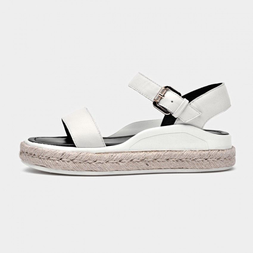 Buy Beau Leather Buckle Espadrille White Sandals online, shop Beau with free shipping