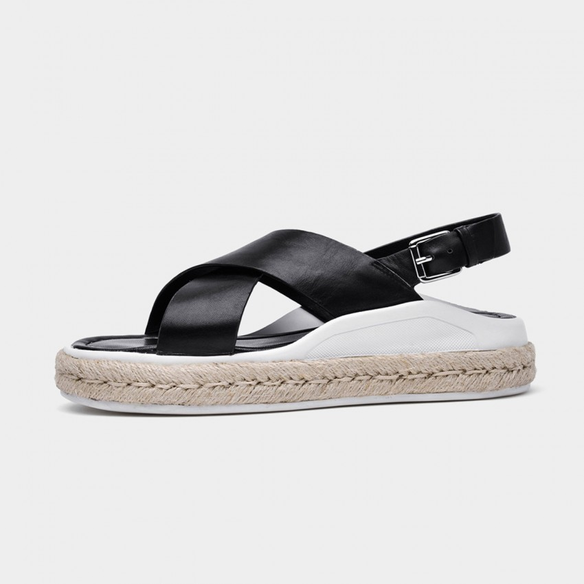 Buy Beau Leather Cross Strap Espadrille Black Sandals online, shop Beau with free shipping