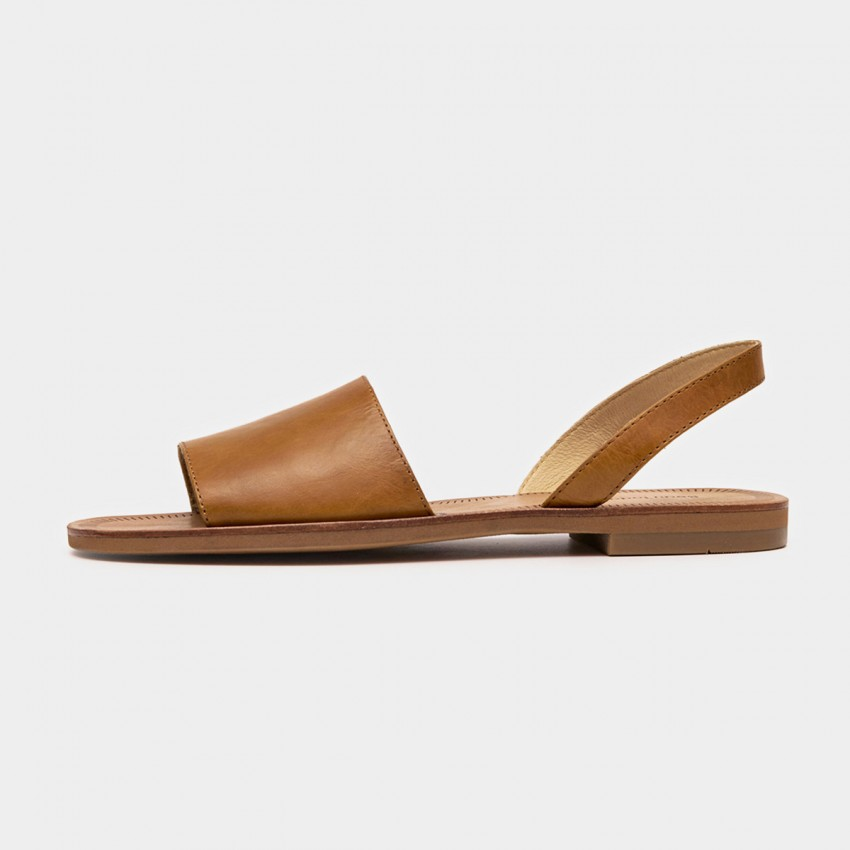 Buy Beau Basic Leather Wide Band Brown Sandals online, shop Beau with free shipping