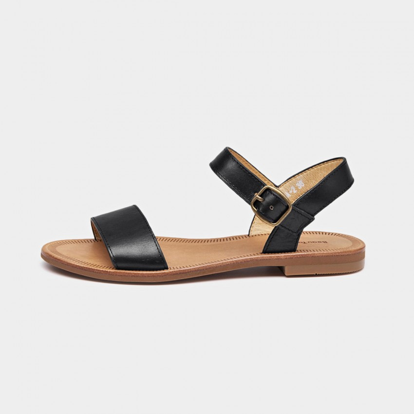 Buy Beau Basic Leather Buckle Black Sandals online, shop Beau with free shipping