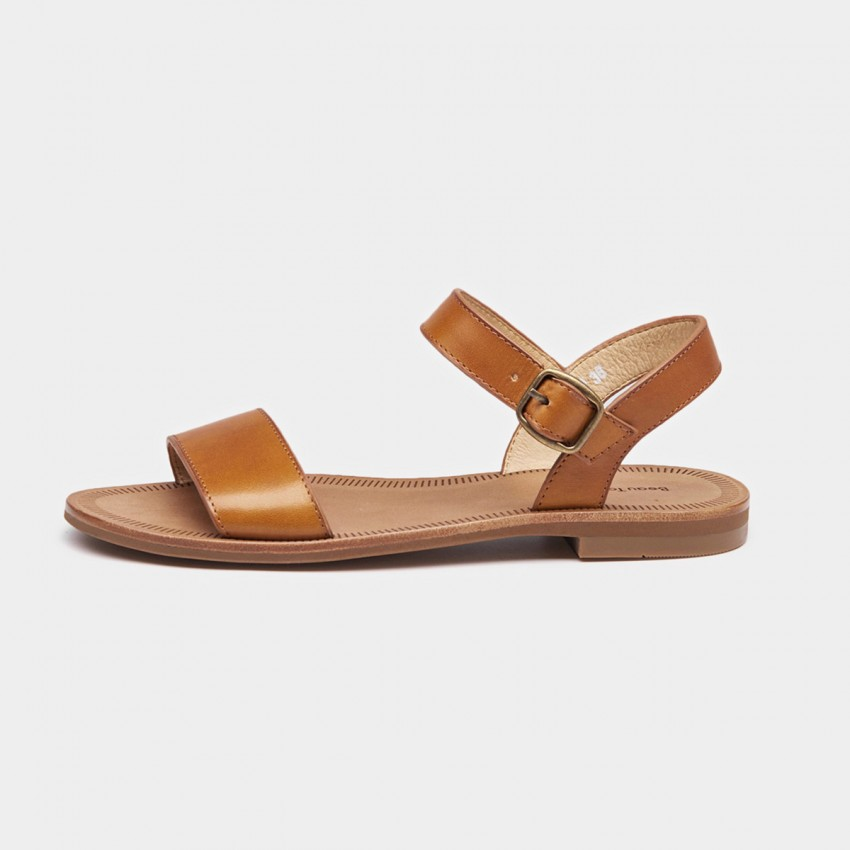Buy Beau Basic Leather Buckle Brown Sandals online, shop Beau with free shipping