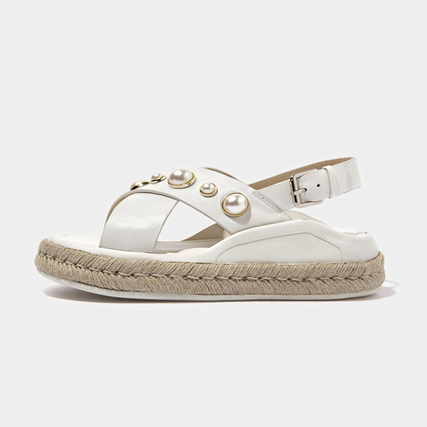 Buy Beau Pearl Cross Strap Espadrille White Sandals online, shop Beau with free shipping