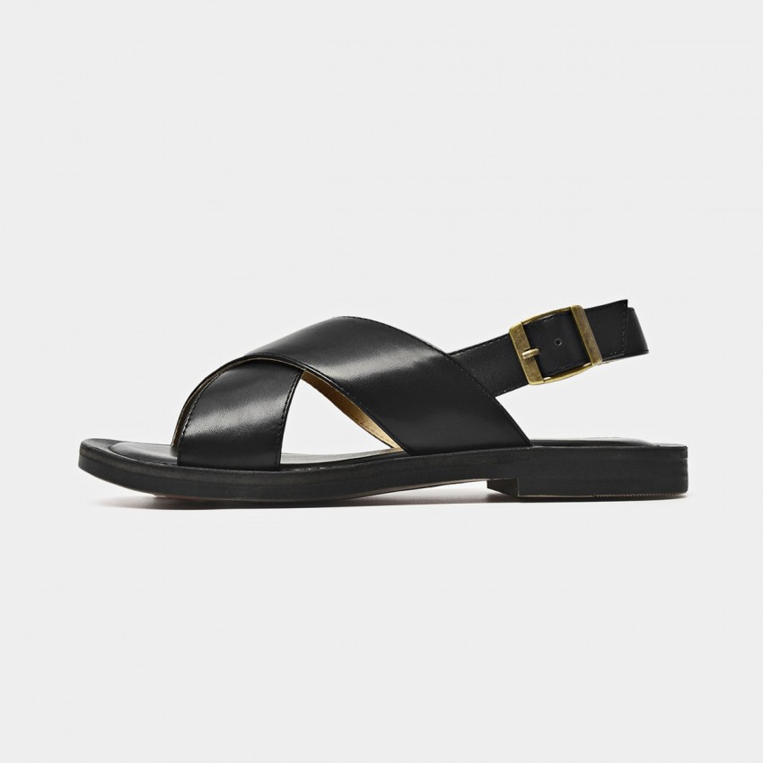 Buy Beau Chic Cross Strap Buckle Black Sandals online, shop Beau with free shipping