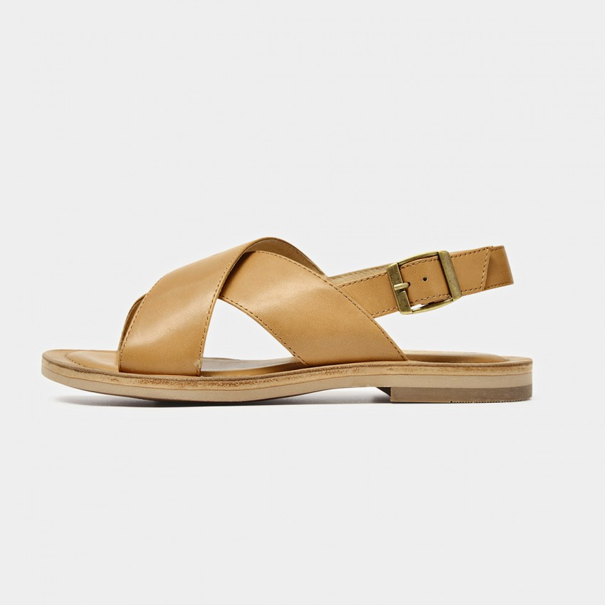 Buy Beau Chic Cross Strap Buckle Brown Sandals online, shop Beau with free shipping