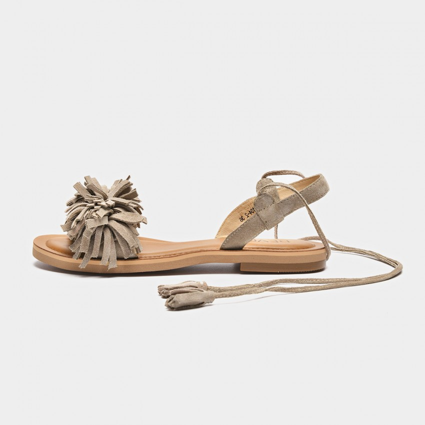 Buy Beau Tassel Cross Strap Beige Sandals online, shop Beau with free shipping