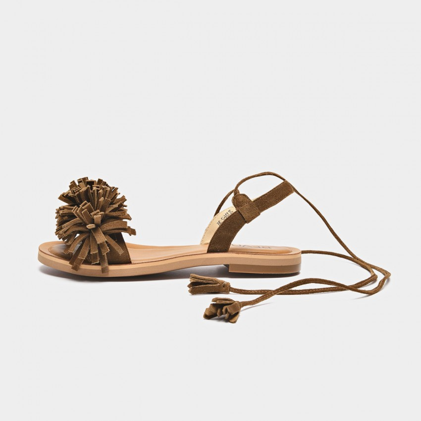 Buy Beau Tassel Cross Strap Brown Sandals online, shop Beau with free shipping