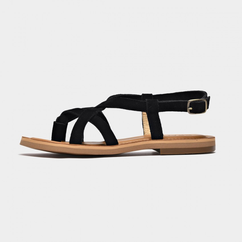Buy Beau Multi Cross Strap Black Sandals online, shop Beau with free shipping