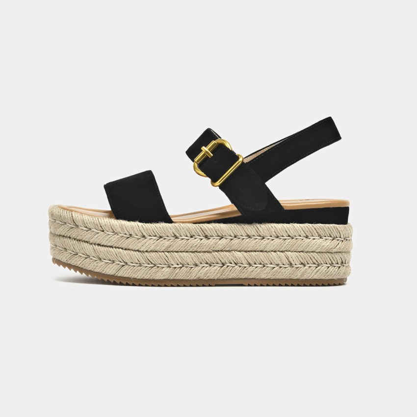 Buy Beau Espadrille Platform Buckle Black Sandals online, shop Beau with free shipping