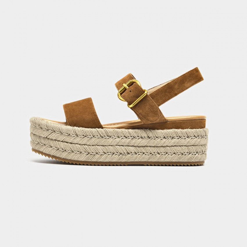 Buy Beau Espadrille Platform Buckle Camel Sandals online, shop Beau with free shipping