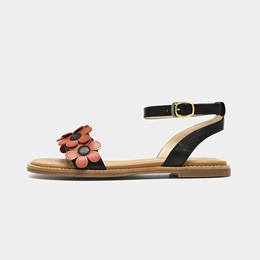 Buy Beau Flowers Ankle Strap Black Sandals online, shop Beau with free shipping