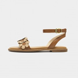Beau Flowers Ankle Strap Brown Sandals (32072)