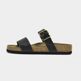 Beau Casual Leather Buckle Black Slippers (34006)