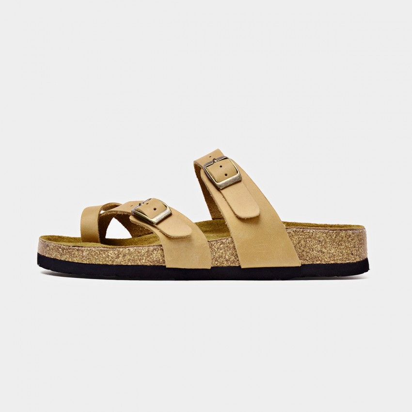 Buy Beau Double Buckle Apricot Slippers online, shop Beau with free shipping