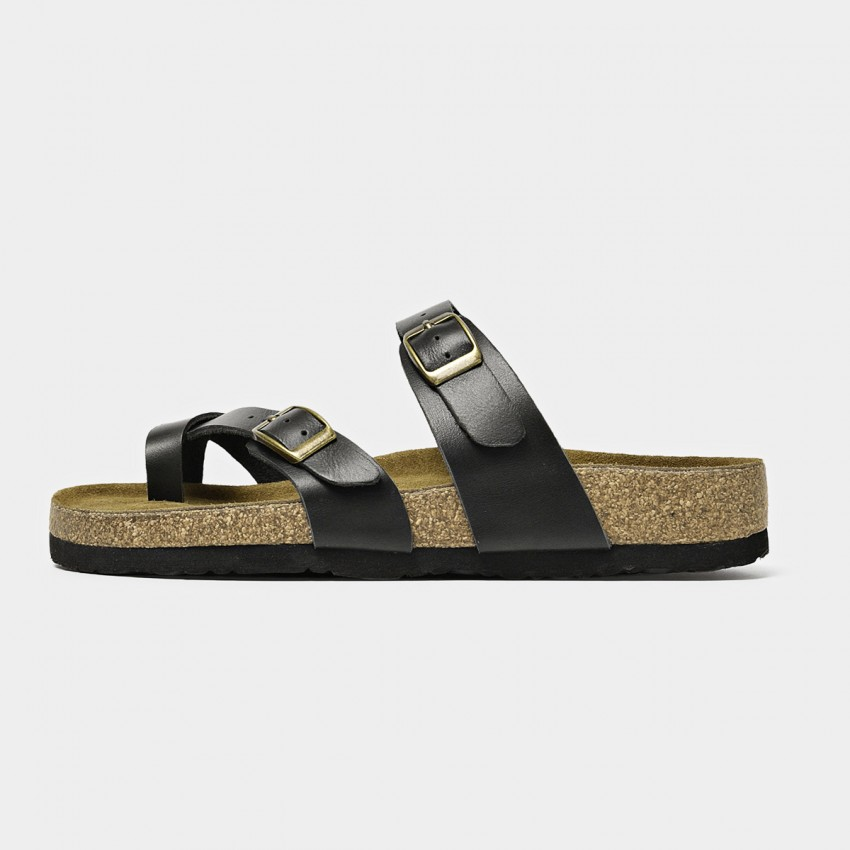 Buy Beau Double Buckle Black Slippers online, shop Beau with free shipping